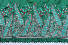 Load image into Gallery viewer, Machine Embroidered George Wrapper Design # 7074 - Bottle Green  - With Blouse