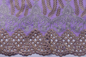 Machine Embroidered George Wrapper Design # 7400 - Lilac - With Blouse