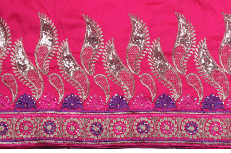 Machine Embroidered George Wrapper Design # 7062 - Fuchsia Pink - Without Blouse