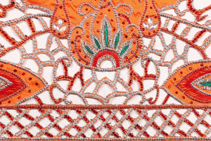 Hand Embroidered George Wrapper Design # 9705 - Burnt Orange - With Blouse