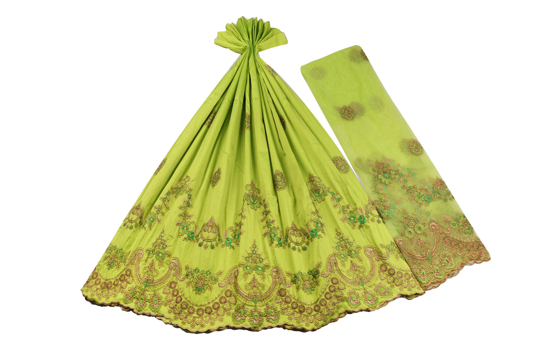 Machine Embroidered George Wrapper Design # 7436 - Lime Green - With Blouse