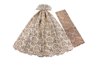 Hand Stoned George Wrapper Design # 6729 - Cream - With Blouse