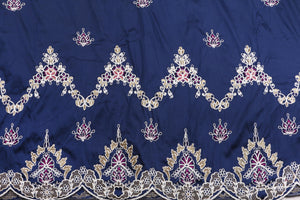Machine Embroidered George Wrapper Design # 7435 - Navy Blue - With Blouse