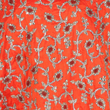Load image into Gallery viewer, Hand Embroidered Fabric Design # 4167 - Burnt Orange - Per Yard