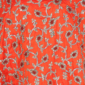Hand Embroidered Fabric Design # 4167 - Burnt Orange - Per Yard