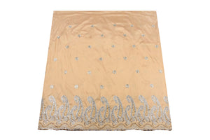 Hand Stoned George Wrapper Design # 6740 - Champagne Gold - With Ash Blouse