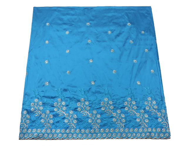 Machine Embroidered George Wrapper Design # 7043 - Aqua Blue - Without Blouse