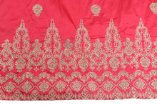 Load image into Gallery viewer, Machine Embroidered George Wrapper Design # 7399 - Coral - With Blouse