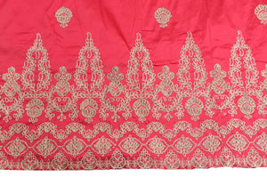 Machine Embroidered George Wrapper Design # 7399 - Coral - With Blouse