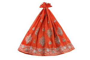 Machine Embroidered George Wrapper Design # 7103 - Burnt Orange - Without Blouse