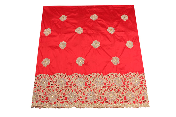 Hand Embroidered George Wrapper Design # 9632 - Coral Red - With Blouse