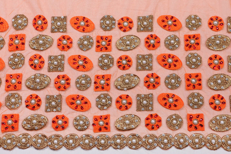 Hand Embroidered Blouse Design # 3254 - Burnt Orange - 1.7 Yards
