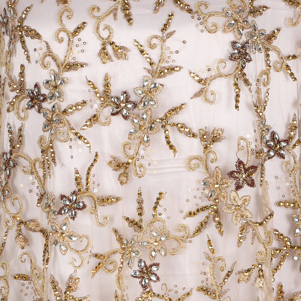 Hand Embroidered Fabric Design # 4158 - Champagne Gold - 5 Yard Piece