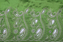 Load image into Gallery viewer, Hand Embroidered George Wrapper Design # 9415 - Lime Green - With Blouse