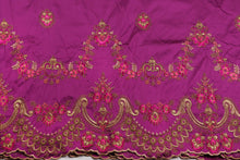 Load image into Gallery viewer, Machine Embroidered George Wrapper Design # 7436 - Magenta - With Blouse