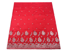 Load image into Gallery viewer, Machine Embroidered George Wrapper Design # 7095 - Red - Without Blouse
