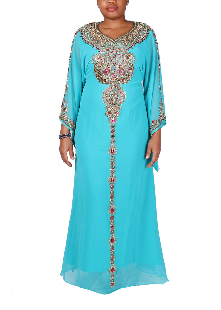 Kaftan Design # 7075 - Aqua Blue