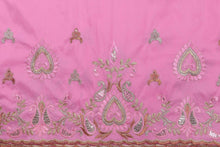 Load image into Gallery viewer, Machine Embroidered George Wrapper Design # 7047 - Baby Pink - Without Blouse