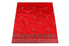 Load image into Gallery viewer, Hand Stoned George Wrapper Design # 6704 - Red - With Blouse
