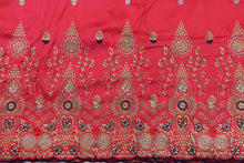Load image into Gallery viewer, Machine Embroidered George Wrapper Design # 7401 - Coral - With Contrast Blouse