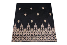 Load image into Gallery viewer, Machine Embroidered George Wrapper Design # 7396 - Black - With Contrast Blouse