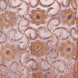 Machine Embroidered Fabric Design # 4134 - Coffee Brown - 5 Yard Piece
