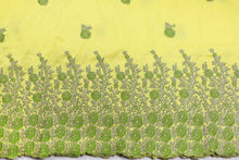 Load image into Gallery viewer, Machine Embroidered George Wrapper Design # 7395 - Yellow - With Blouse