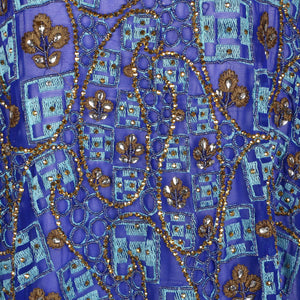 Hand Embroidered Fabric Design # 4174 - Royal Blue- Per Yard