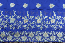 Load image into Gallery viewer, Machine Embroidered George Wrapper Design # 7444 - Royal Blue - With Blouse