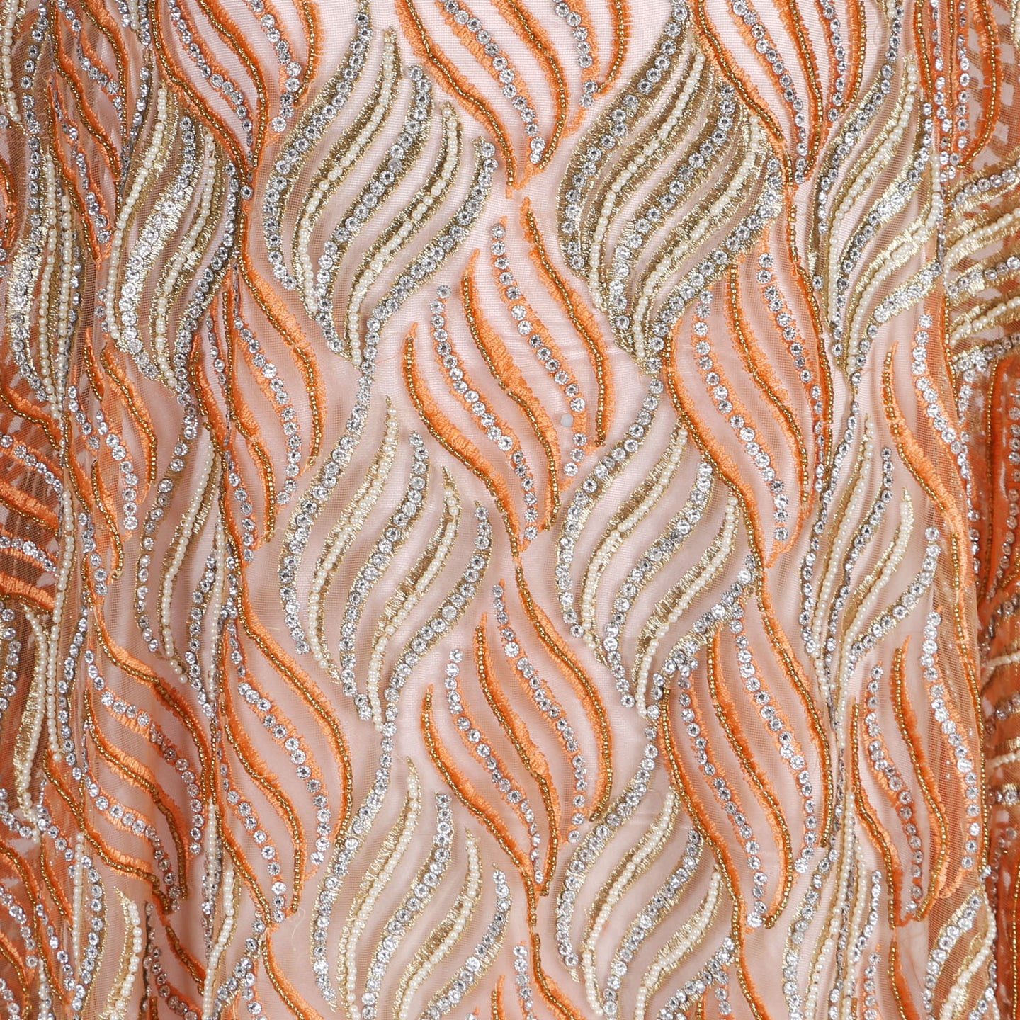Hand Embroidered Fabric Design # 4114 - Peach - 5 Yard Piece