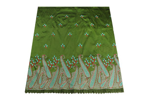 Machine Embroidered George Wrapper Design # 7074 - Olive Green  - With Blouse