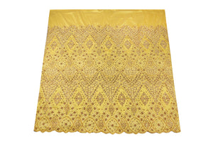 Hand Stoned George Wrapper Design # 6722 - Yellow - With Blouse