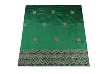 Load image into Gallery viewer, Machine Embroidered George Wrapper Design # 7451 - Pure Green - With Blouse