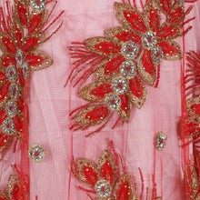 Load image into Gallery viewer, Hand Embroidered Fabric Design # 4154 - Red - Per Yard