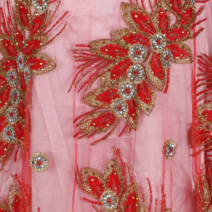 Hand Embroidered Fabric Design # 4154 - Red - Per Yard