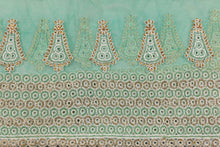 Load image into Gallery viewer, Hand Embroidered Blouse Design # 3368 - Aqua Green - With Blouse - 1.7 Yards