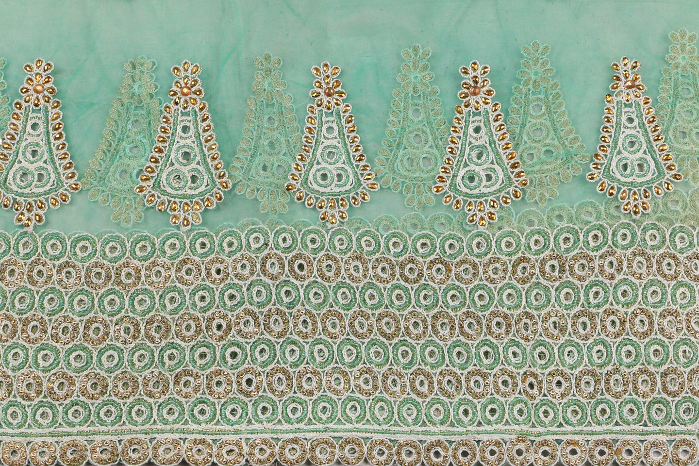 Hand Embroidered Blouse Design # 3368 - Aqua Green - With Blouse - 1.7 Yards