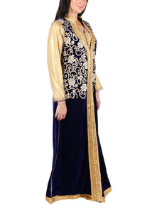 Kaftan Design # 7188 - Navy Blue - Free Size