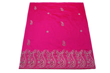 Load image into Gallery viewer, Hand Embroidered George Wrapper Design # 9415 - Fuchsia Pink - With Blouse