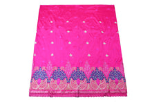 Load image into Gallery viewer, Machine Embroidered George Wrapper Design # 7069 - Fuchsia Pink  - With Blouse