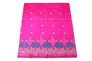 Machine Embroidered George Wrapper Design # 7069 - Fuchsia Pink  - With Blouse