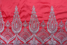 Load image into Gallery viewer, Machine Embroidered George Wrapper Design # 7389 - Coral - With Blouse