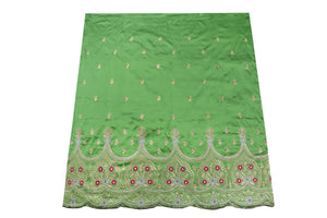 Machine Embroidered George Wrapper Design # 7409 - Lime Green - With Blouse