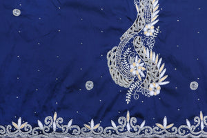 Hand Embroidered George Wrapper Design # 9472 - Navy blue - With Blouse