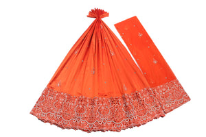 Hand Embroidered George Wrapper Design # 9402 - Burnt Orange - With Blouse