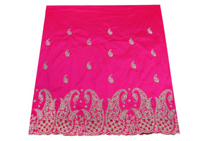 Hand Stoned George Wrapper Design # 6714 - Fuchsia Pink - With Blouse
