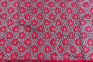 Machine Embroidered George Wrapper Design # 7429 - Fuchsia Pink - With Blouse