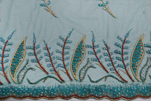 Hand Embroidered Blouse Design # 3263 - Aqua Green - 1.7 Yards