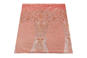 Hand Embroidered George Wrapper Design # 9739 - Peach - With Blouse