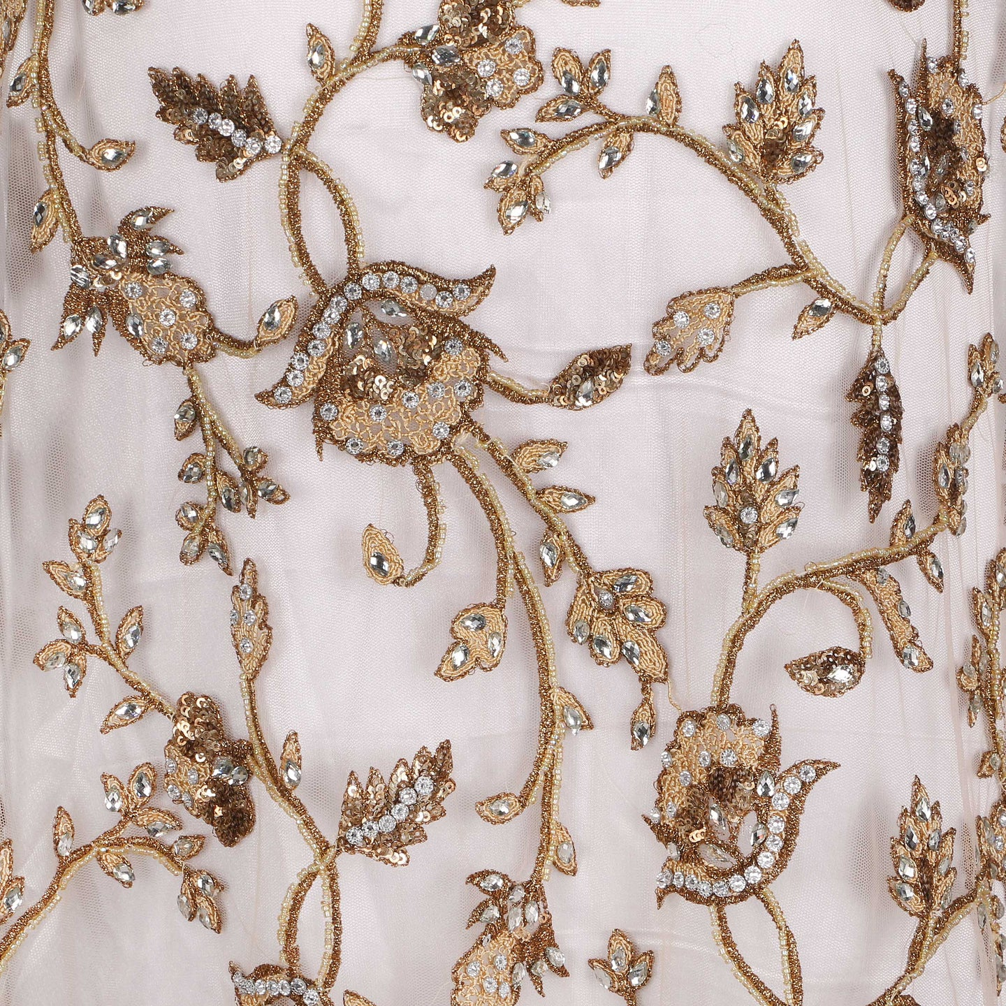 Hand Embroidered Fabric Design # 4156 - Champagne Gold - Per Yard